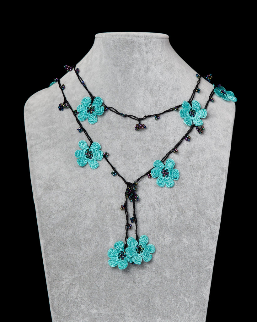 Lariat with Pomegranate Flowers - Turquoise