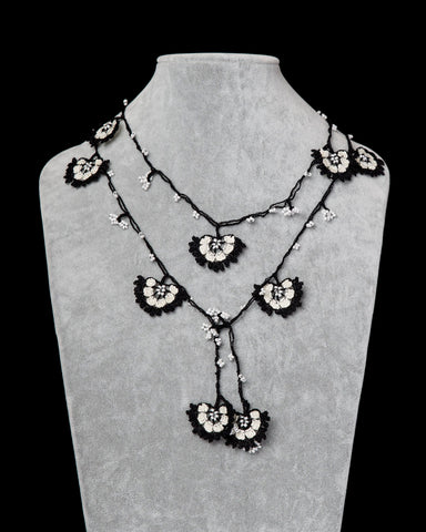 Lariat with Cornflower Motif - Black and White