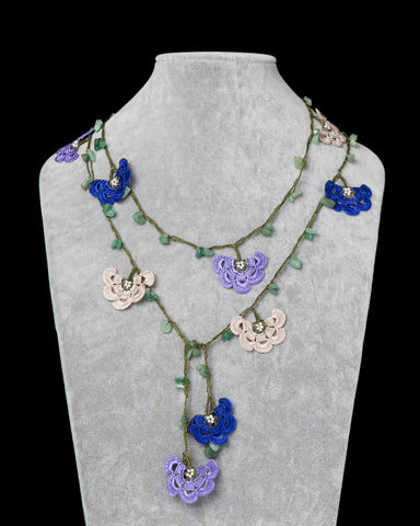 Lariat with Fan Motif -  Lilac, Royal Blue & Beige