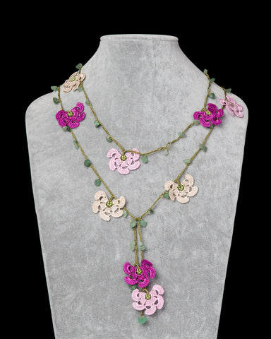 Lariat with Fan Motif -  Pink, Fuschia & Beige