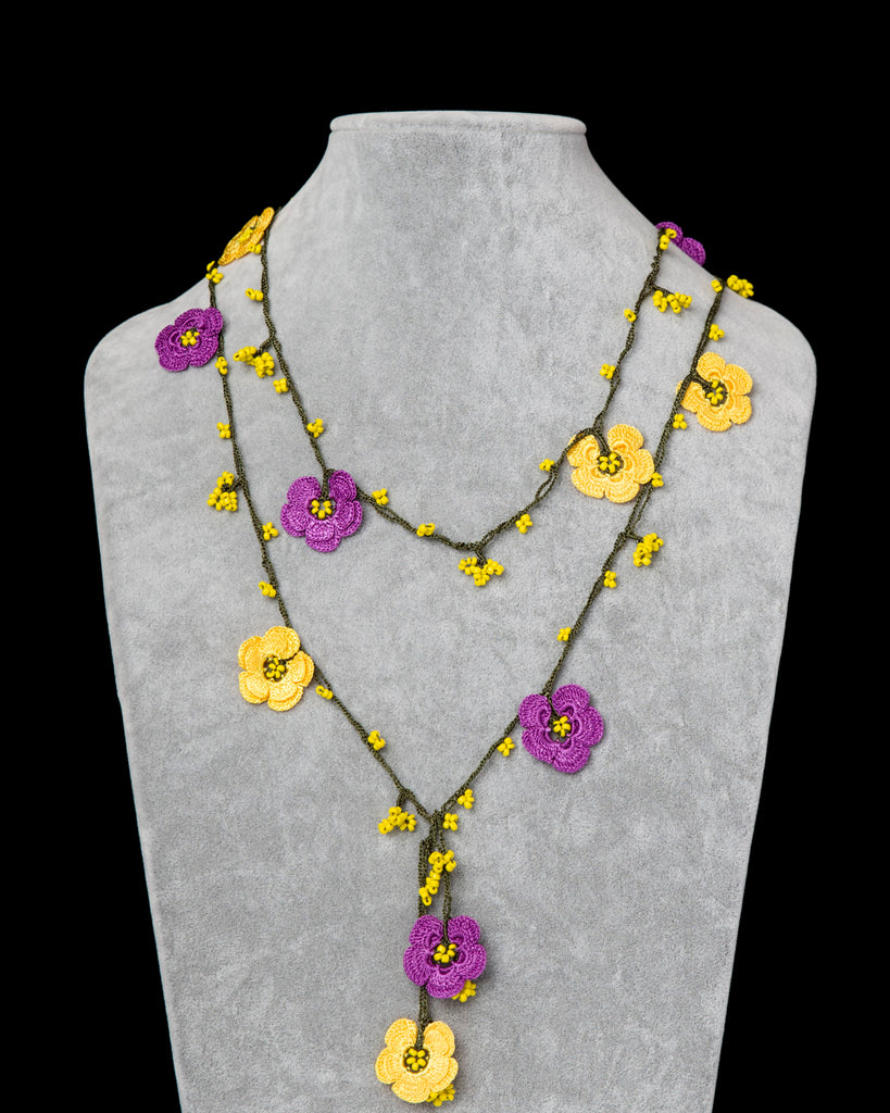 Lariat with Double Clover Motif - Yellow & Purple
