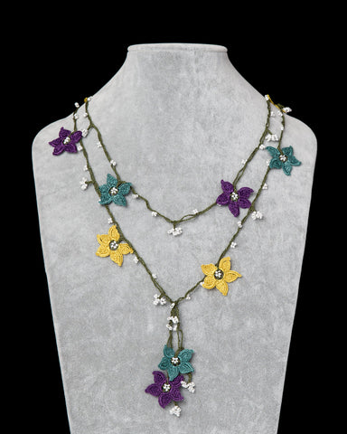Lariat with Star Motif -  Green, Yellow & Purple