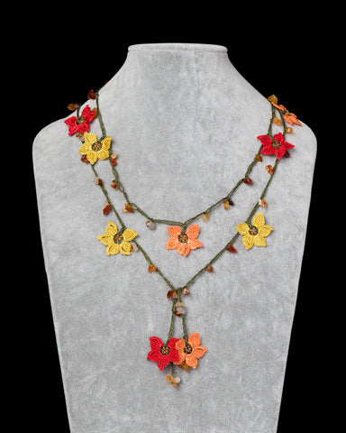 Lariat with Star Motif -  Yellow, Orange & Red