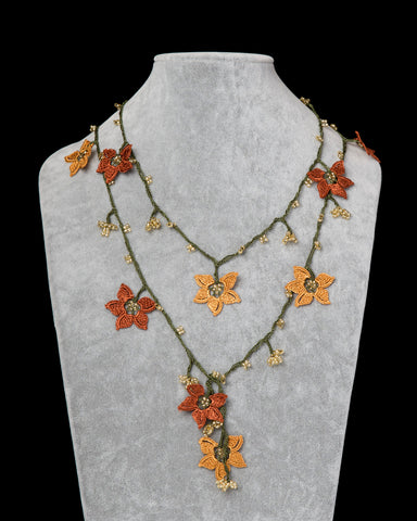 Lariat with Star Motif - Orange & Copper