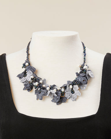 Pearl Bouquet Choker - Charcoal