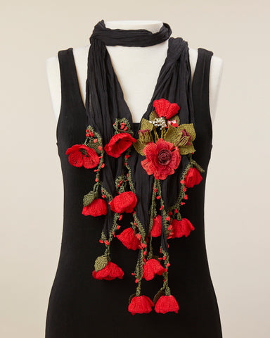 Tulip Scarf - Black/Red