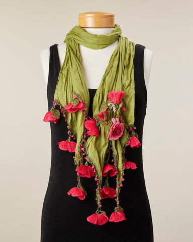 Tulip Scarf - Olive Green/Watermelon
