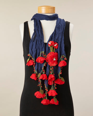 Tulip Scarf - Navy/Red