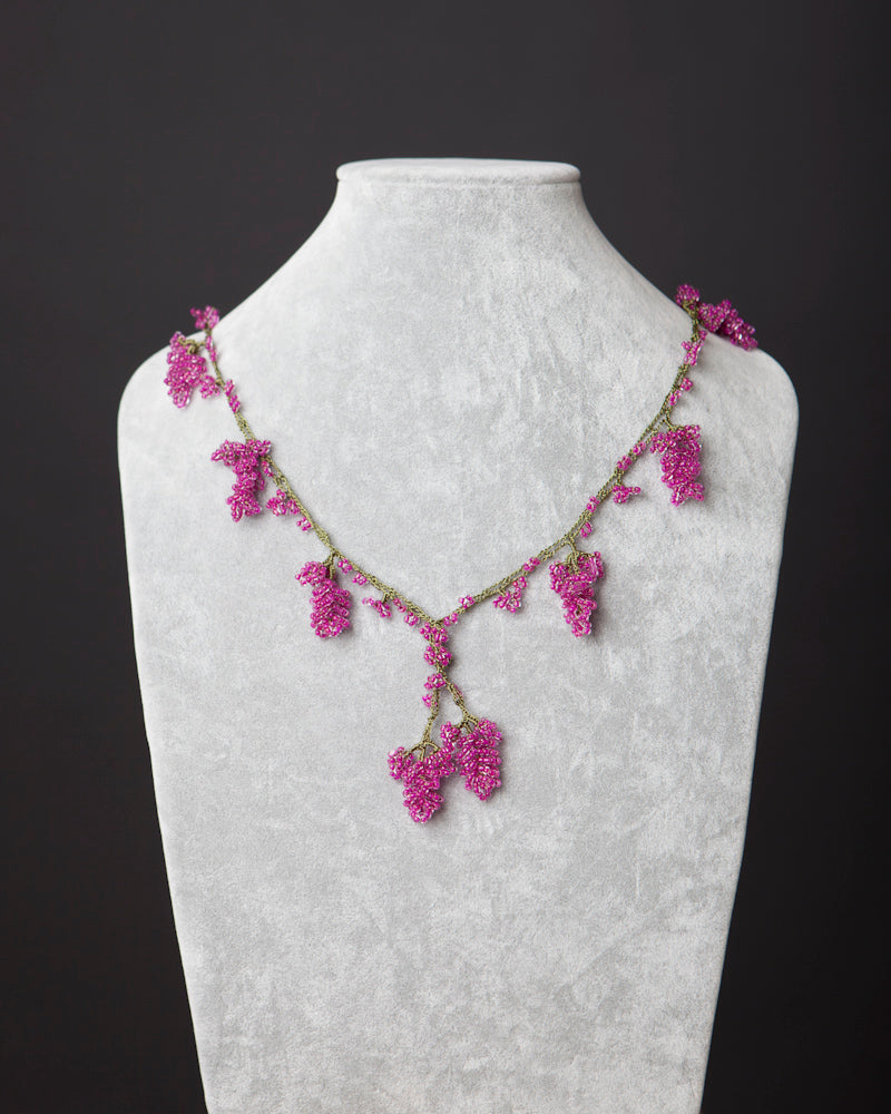 Beaded Necklace with Grape Motif - Raspberry