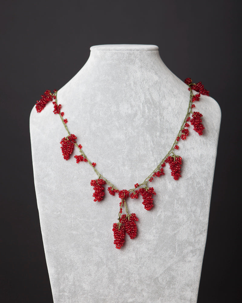 Beaded Necklace with Grape Motif - Red
