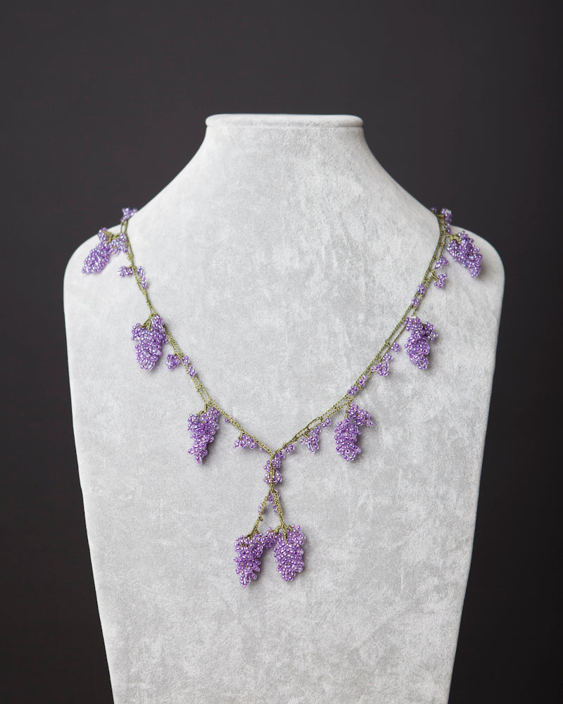 Beaded Necklace with Grape Motif - Lavender