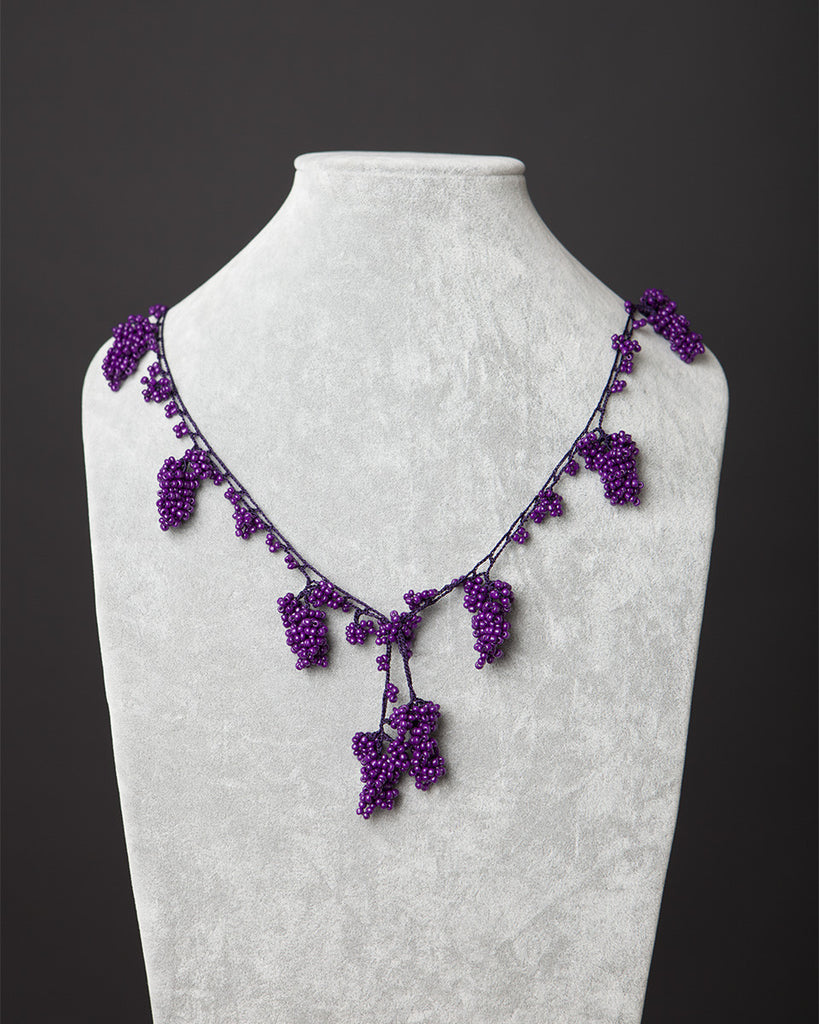 Beaded Necklace with Grape Motif - Purple