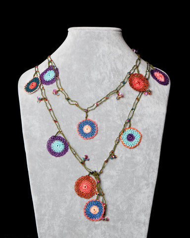 Lariat with Circle Motif -  Multicolor