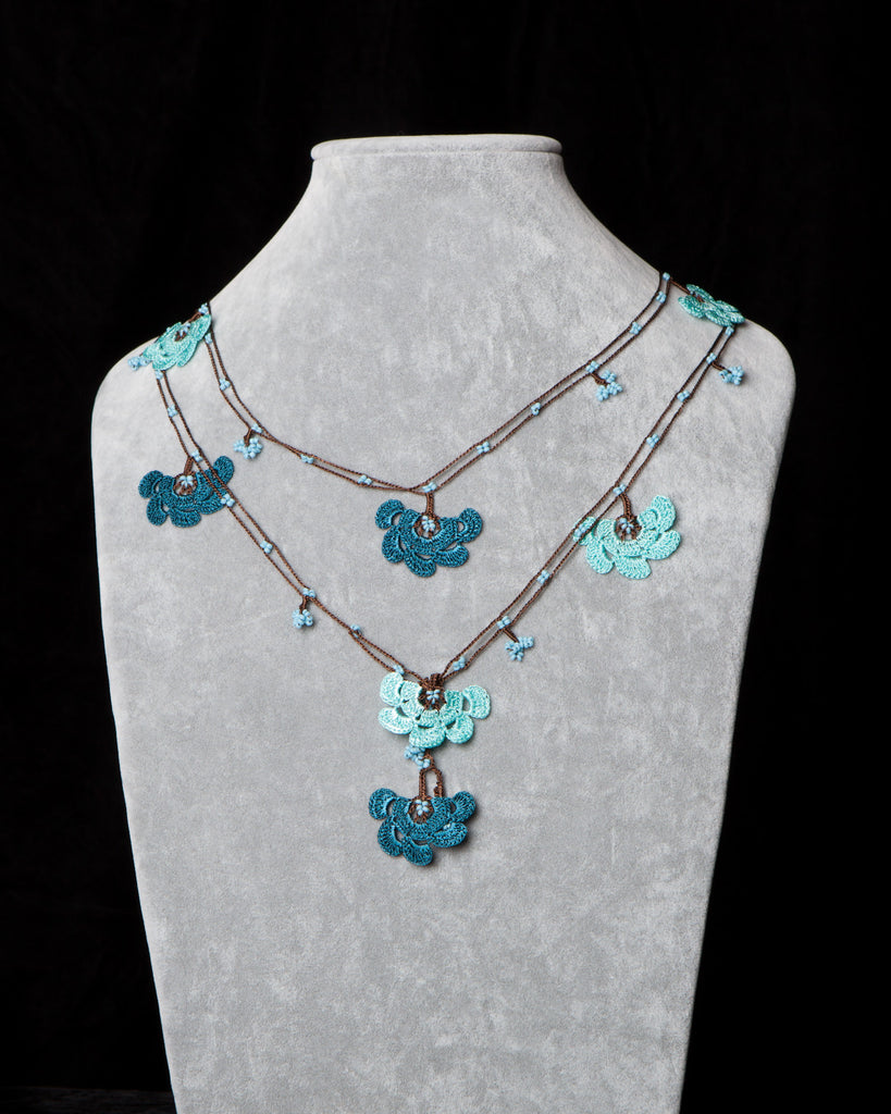Lariat with Fan Motif -  Teal