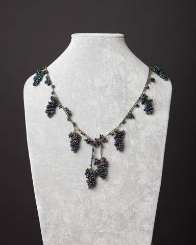 Beaded Necklace with Grape Motif - Blackberry