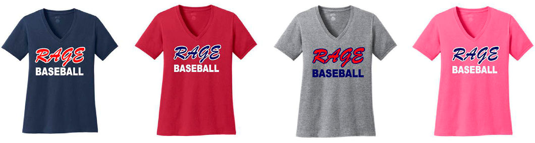 Rage Baseball Ladies VNeck Short Sleeve Shirts