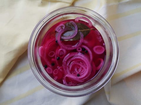 pickled onions in a jar