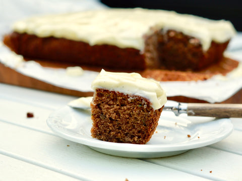 A slice of squash cake on a plate