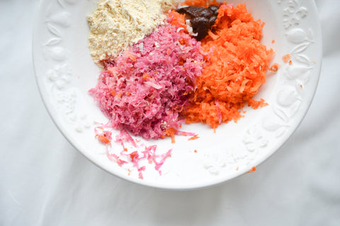 Grated ingredients for the buddha bowl on a plate