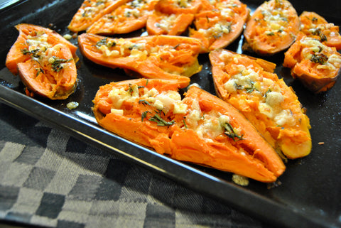 A pan of stuffed sweet potatoes