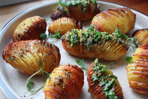 A serving of hasselback potatoes