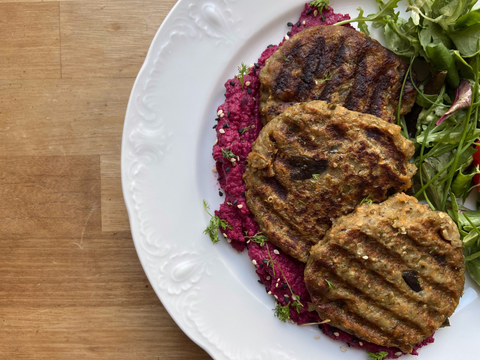A plate with some vegan aubergine patties