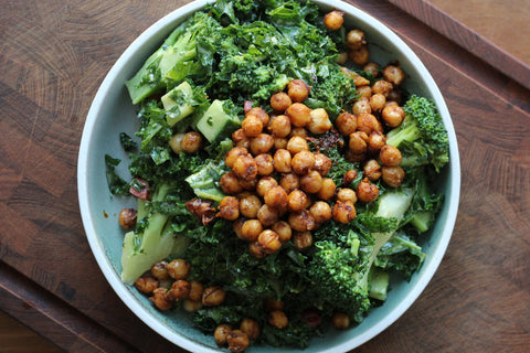kale salad with chickpeas in a bowl