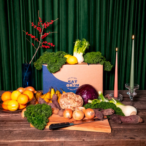 A Big & Beastly GRIM box for the Christmas menu, with all the included veggies in front of it