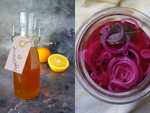 An image of apple sirup next to an image of pickled red onions