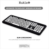 Nuklz N Wireless Large Print Full Size Computer Keyboard | High Contrast Black & White Keys | Soft Buttons for Quiet Typing & Gaming | Ideal for Visually Impaired, Beginners and Seniors | Plug & Play