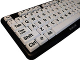 Nuklz N Large Print Computer Keyboard with White Keys & Black Letters for Visually Impaired