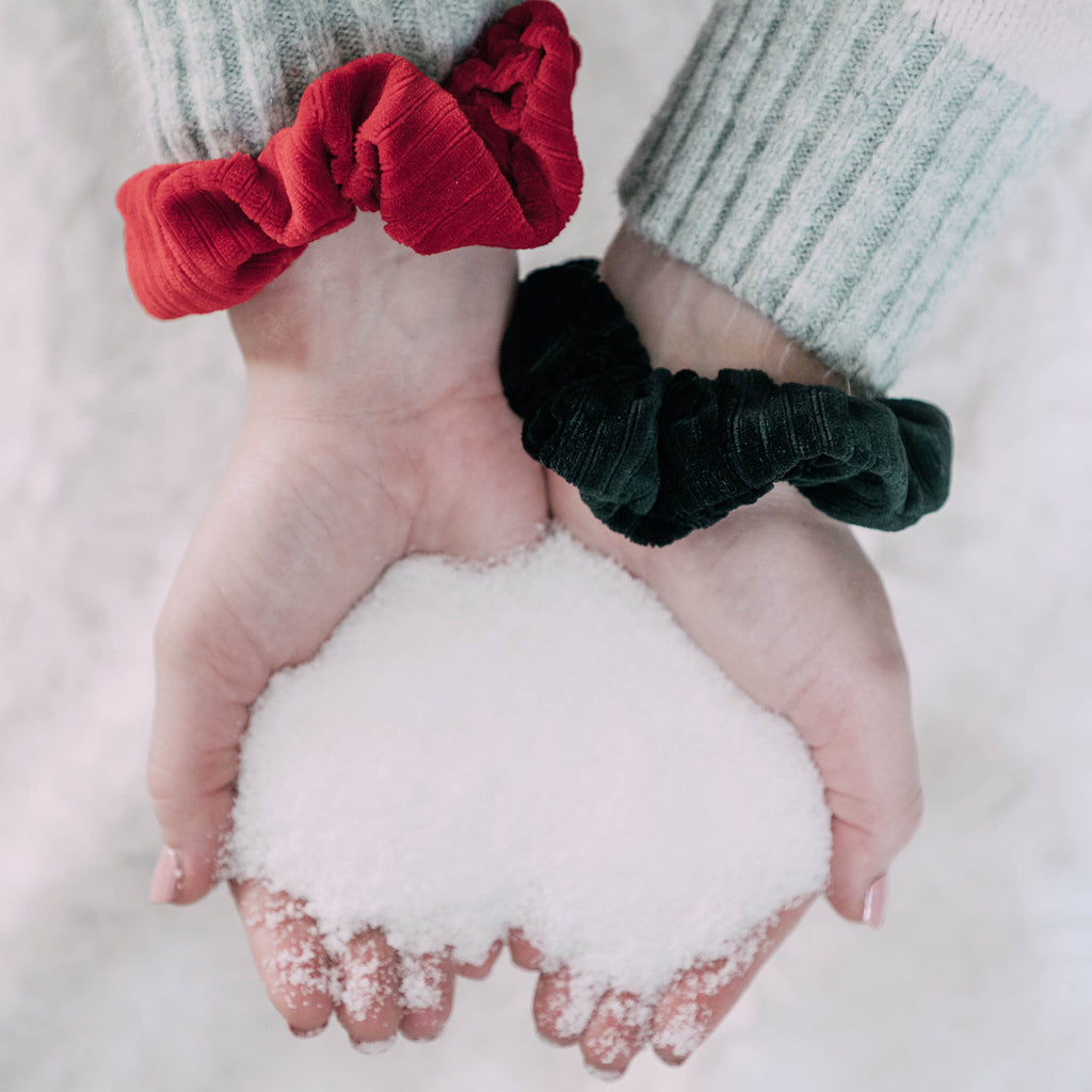 Cherry Cola Corduroy Scrunchie Set