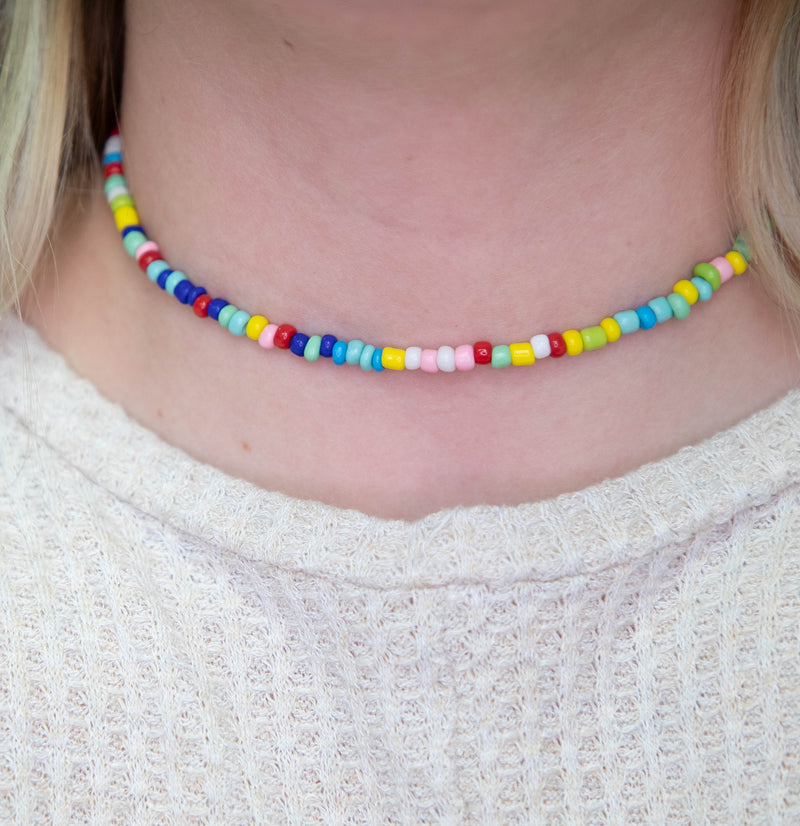 Chasing Rainbows Beaded Choker Necklace