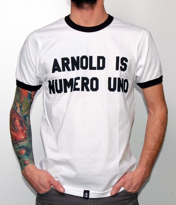 ARNOLD IS NUMERO UNO T-Shirt Men Casual White with black edge teeseticdress-eticdress