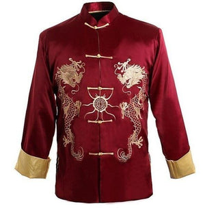 Burgundy Traditional Chinese Men's Kung-u Jacket Coat shirt Embroidery with Dragoneticdress-eticdress