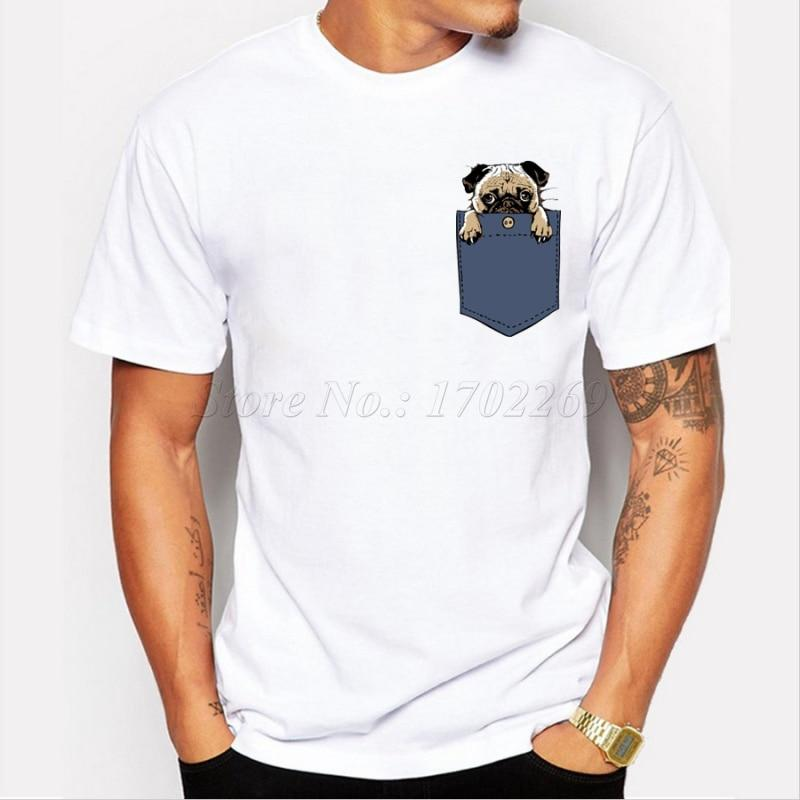 Newest Pugturday Men t-shirt pug in pocket design male funny tops cartooneticdress-eticdress