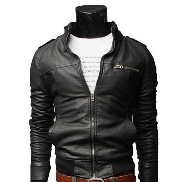New Arrival PU Leather Jacket Men Long Standing Collar Solid Color Jacketseticdress-eticdress