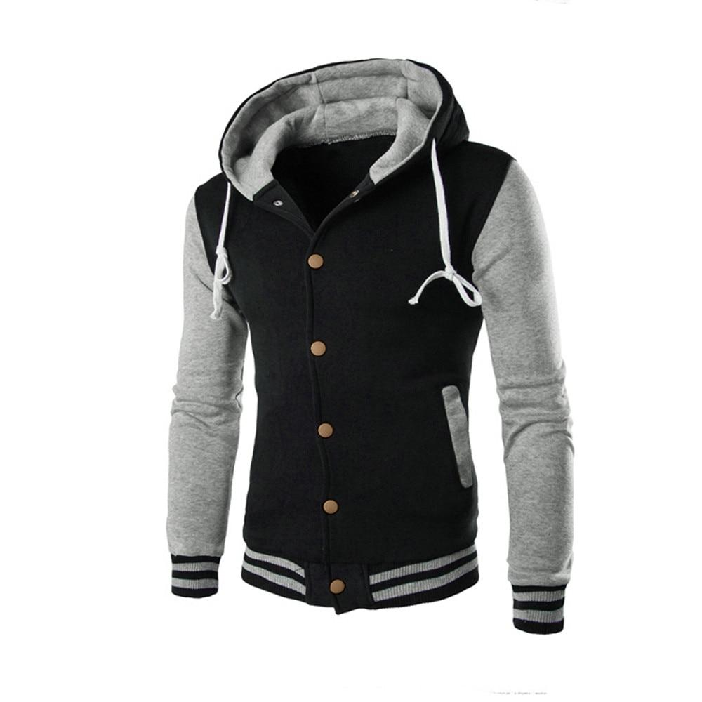 New Hooded Baseball Jacket Men 2016 Slim Hoodie Warm Mens Slim Fiteticdress-eticdress