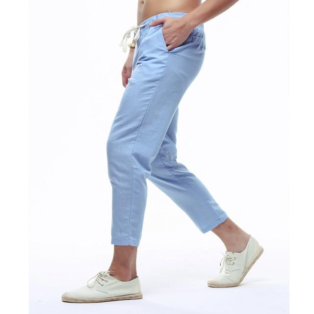 Summer Mens Linen Capri Pants Lightweight Slim Legs Casual Pants Men Higheticdress-eticdress