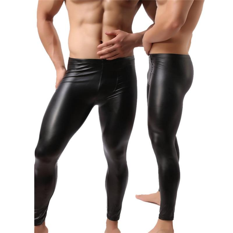 Fashion Mens Black Faux Leather Pants Long Trousers Sexy And Novelty Skinnyeticdress-eticdress