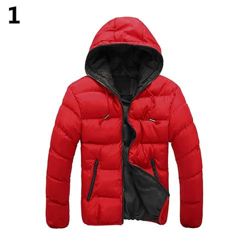 Men Winter Warm Down Jacket Casual Long Sleeve Padded Hooded Zipper Coateticdress-eticdress