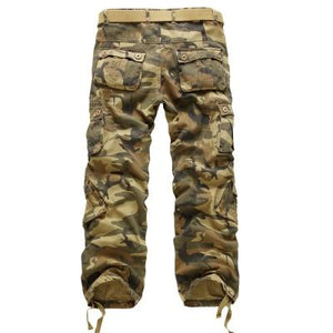 2017 Men's Loose Multi-Pocket Military Army Camouflage Pants Men Casual Cotton Straighteticdress-eticdress