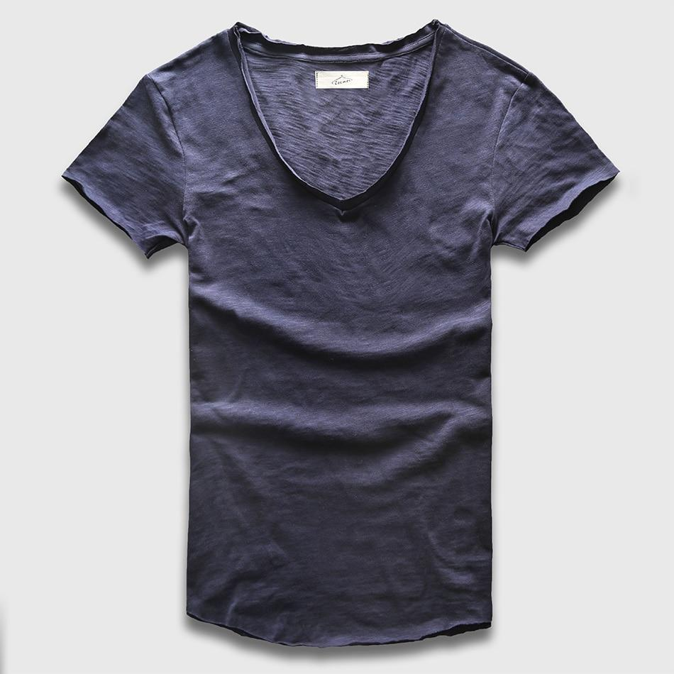 Zecmos Deep V Scoop Neck T-Shirt Men Basic Top Tees Men Casualeticdress-eticdress