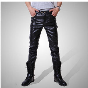 Men Skinny Faux PU Leather Pants Shiny Black Gold silver Trousers Nightclubeticdress-eticdress