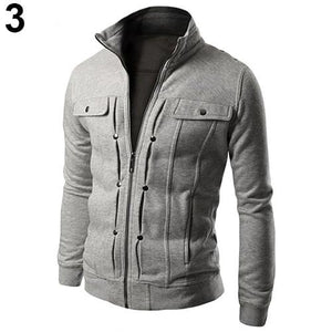 Men Solid Color Jacket Slim Fit Stand Collar Zipper Short Coat Wintereticdress-eticdress