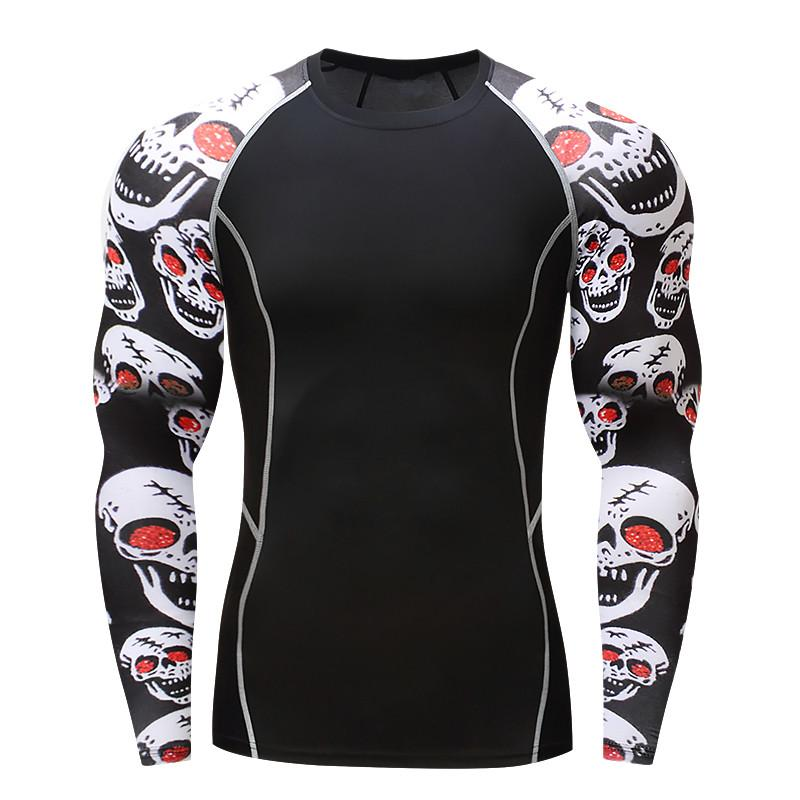 017Men Compression Shirts MMA Rashguard Keep Fit Fitness Long Sleeves Base Layereticdress-eticdress