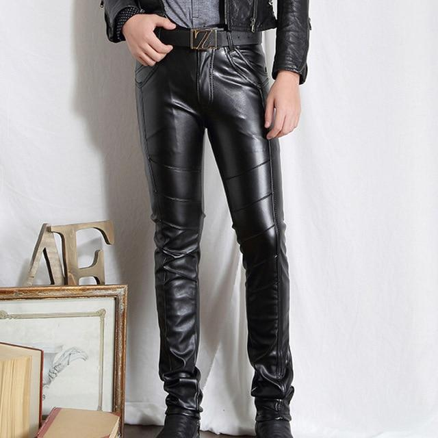 Men PU Leather Pants Skinny Motorcycle Riding Pants Slim Fit Trousers foreticdress-eticdress