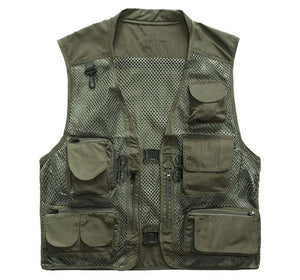 Plus Size Multi Pockets Vest Men Summer Mesh Breathable Photography Waistcoat Reportereticdress-eticdress
