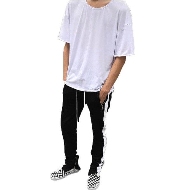 NEW Men Casual Lace Up Pants Jogger Stitching Color Zipper Open Legeticdress-eticdress