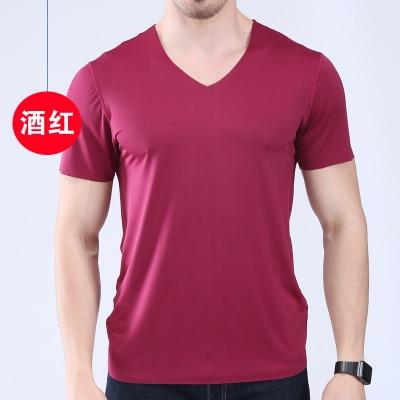 Men's t-shirt thin section short-sleeved summer ice silk without trace Slim stretcheticdress-eticdress